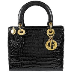 CHRISTIAN DIOR Black Crocodile Bag
