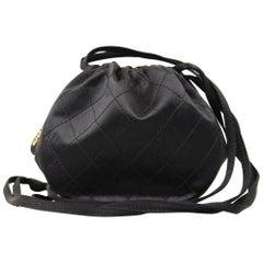 1990s Chanel Black Matelassé Silk Satin Bucket Bag