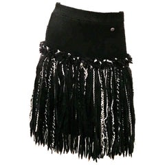 Chanel Skirt - Black Boucle with Black white Fringe Size 38
