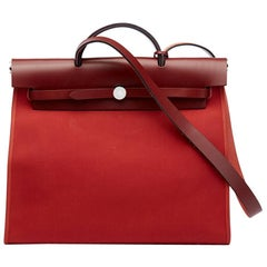 2015 Hermes Rouge H Hunter Cowhide Leather & Rouge Venitienne Canvas Herbag Zip