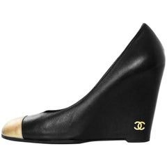 Chanel Black and Gold Cap-Toe Wedges Sz 37
