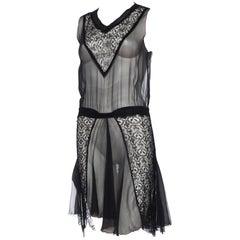 1920s Sheer Chiffon and Lace Dress