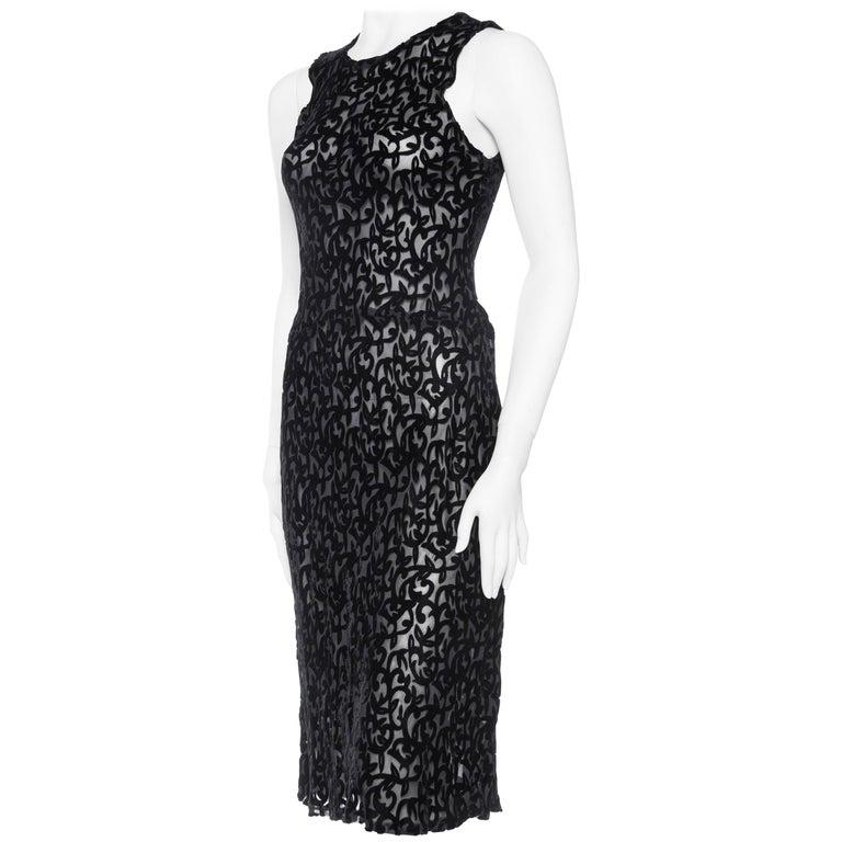 1990s Sheer Bias Burnout Velvet Slip Dress