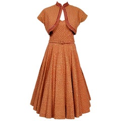 1950's Apricot Mexican Sequin Cotton Belted Circle-Skirt Dress & Bolero Jacket