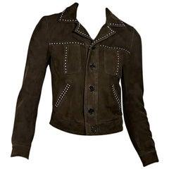 Brown Saint Laurent Studded Suede Jacket