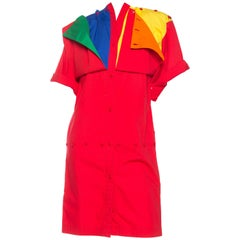 1980S Jean Charles De Castelbajac Primary  Colorblock Cotton Shirt Dress With F