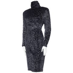 1980s Leopard Lurex and Velvet Dress