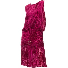 1920S Hot Pink Burnout Silk Velvet Drop Waist Flapper  Cocktail Dress With Crys