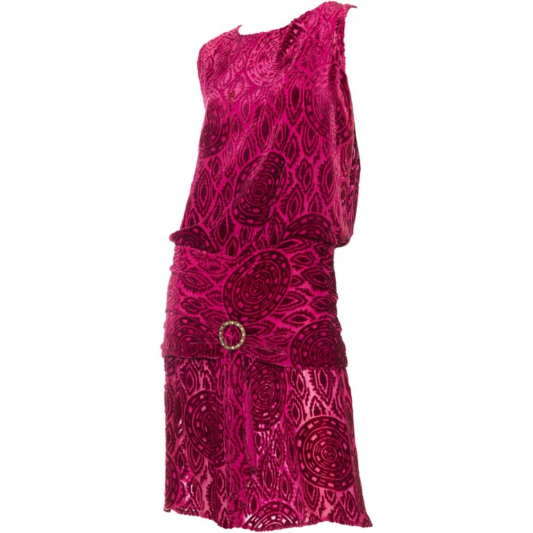 Antique 1920s Pink Sheer Silk Burnout Velvet Dress with Crystals
