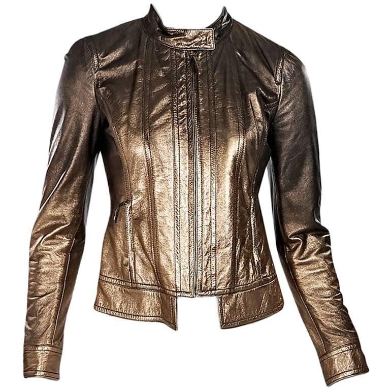 Bronze Roberto Cavalli Metallic Leather Jacket For Sale