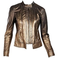 Bronze Roberto Cavalli Metallic Leather Jacket