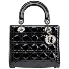 2010 Christian Dior Black Quilted Patent Leather Medium Lady Dior