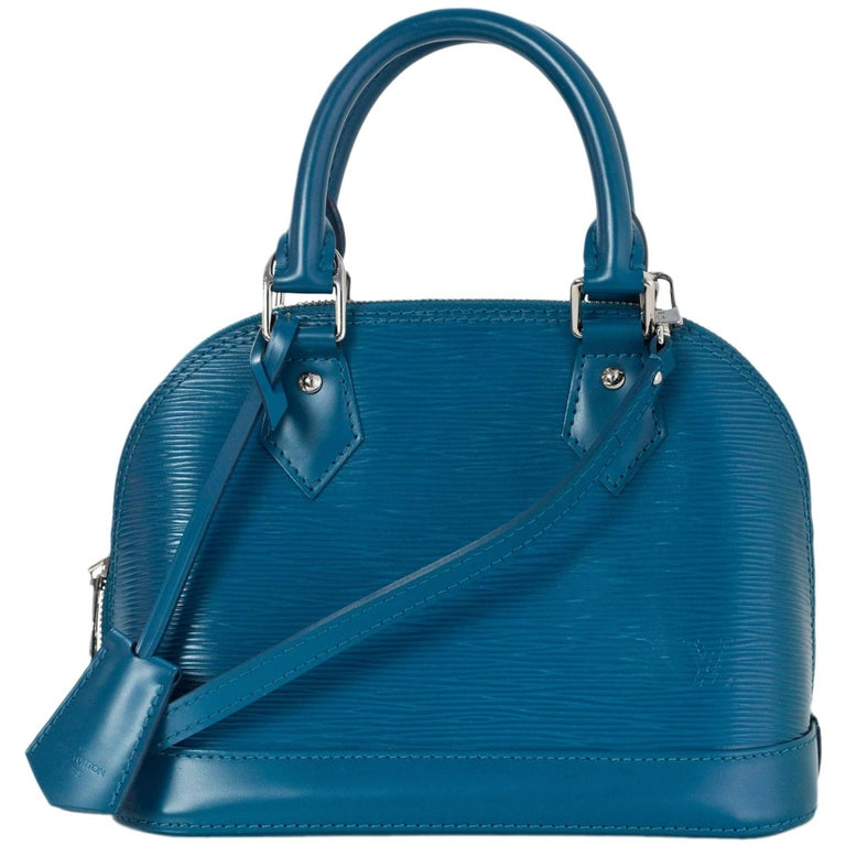 Louis Vuitton Cyan Blue Epi Leather Alma BB Crossbody Bag with DB For Sale