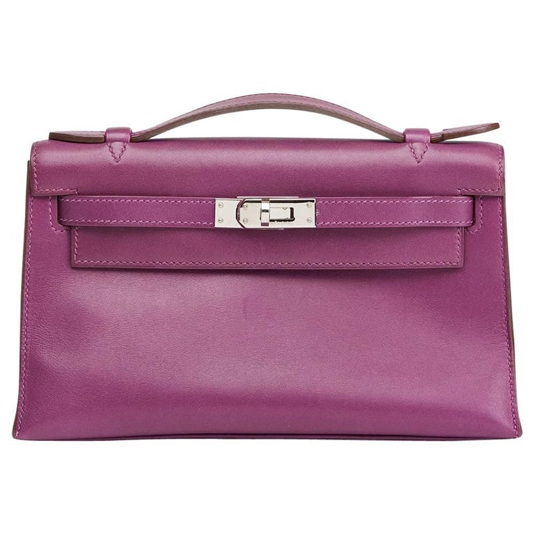 2010 Hermes Anemone Swift Leather Kelly Pochette