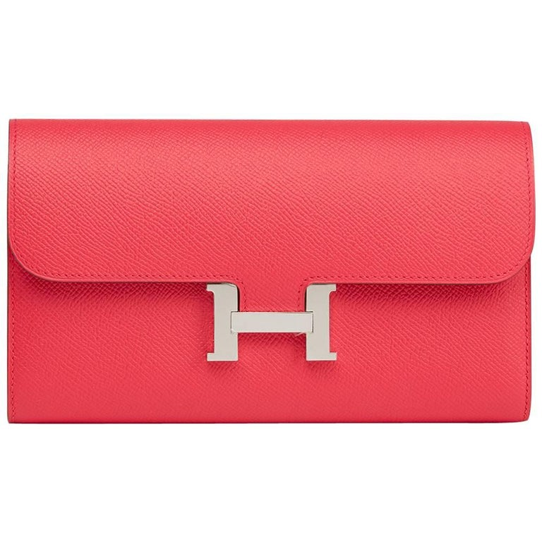 2017 Hermes Rose Extreme Epsom Leather Constance Long Wallet