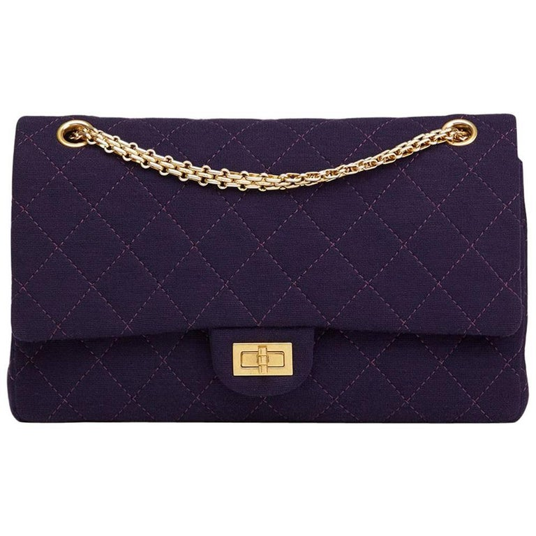 2013 Chanel Violet Quilted Jersey Fabric 2.55 Reissue 226 Double Flap Bag For Sale