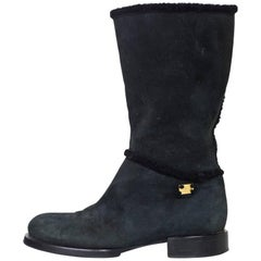 Chanel Black Shearling Short Boots Sz 37.5
