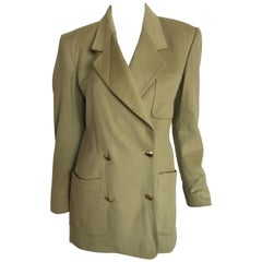 Gucci chartreuse green cashmere double breasted blazer