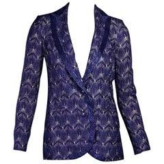 Purple Missoni Metallic Knit Blazer