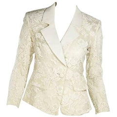 White Vintage Yves Saint Laurent Lace Blazer