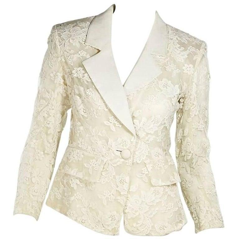 White Vintage Yves Saint Laurent Lace Blazer 1