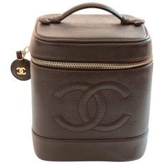 Chanel Train Case Travel Bag Rare Brown Caviar Leather CC Logo 90s