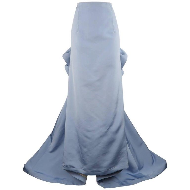 Carolina Herrera Size 10 Light Blue Silk Gathered Train Evening Skirt 1