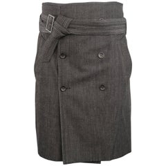 Men's Jean-Paul Gaultier Homme Size 32 Charcoal Rayon Denim Belted Trench Kilt