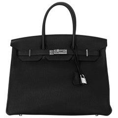 Hermes NEW '17 Noir Black/Bleu Blue Agate 35cm Togo Leather Birkin Bag w Receipt