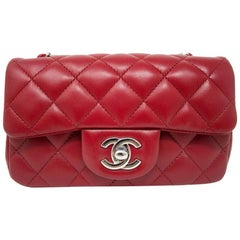 Chanel Red Lambskin Quilted Mini Flap Handbag in Box