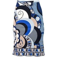 Emilio Pucci Blue, Black & Grey Skirt Sz 4