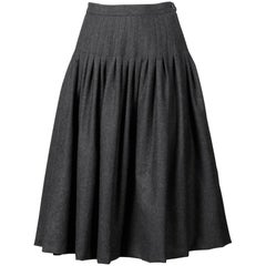 Valentino Vintage Gray Wool + Cashmere Pleated Fit + Flare Midi Skirt