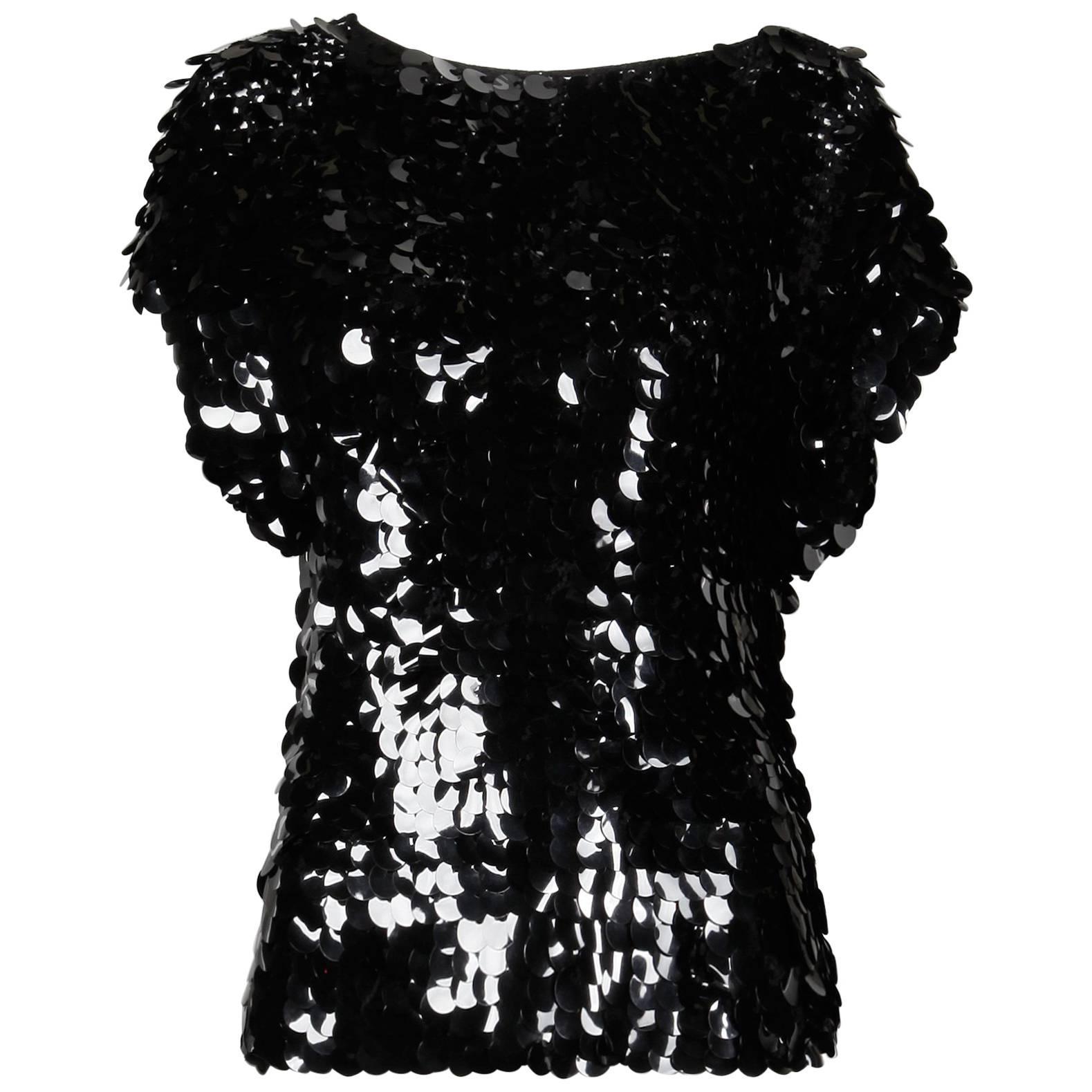 1980s Oscar de la Renta Vintage Black Knit SparklySequin Paillettes Top or Shirt