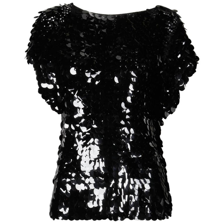 1980s Oscar de la Renta Vintage Black Knit SparklySequin Paillettes Top or Shirt For Sale