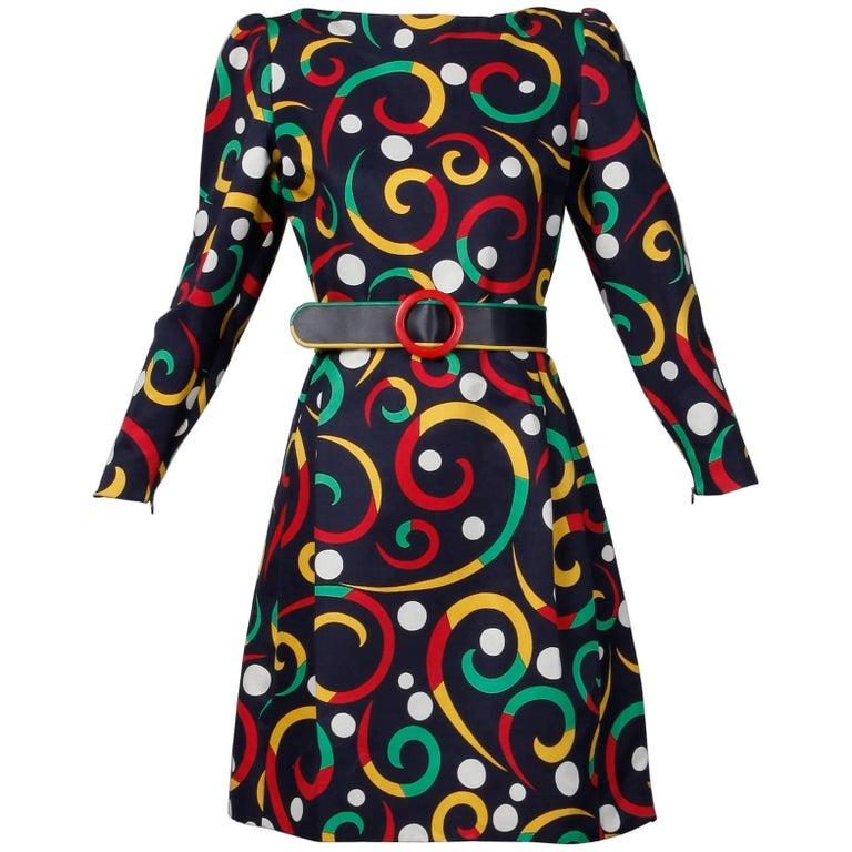 Arnold Scaasi Vintage Silk Blend Polka Dot + Scroll Print Dress + Leather Belt
