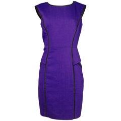 Milly Purple & Faux Leather Trim Dress Sz 10