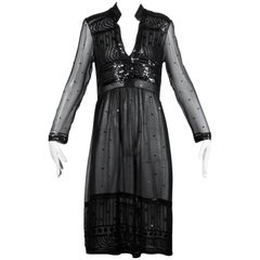1970s Judith Ann for Heiser-Egan Vintage Sheer Black Silk Chiffon Sequin Dress