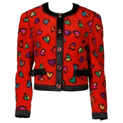 1990s Escada Vintage Red Silk Heart Print Quilted Jacket with Jewel Buttons