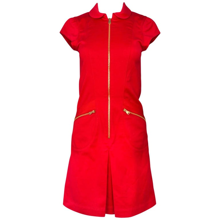 Louis Vuitton Red Cap Sleeve Zipper Dress Sz IT36