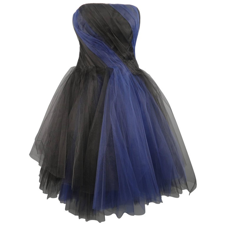 Oscar de la Renta Size 4 Black & Blue Tulle Bustier Cocktail Dress Retail $4,490