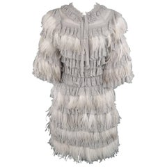 Christian Dior Size 4 Gray Knit Ostrich Feather Ruffle Cocktail Dress