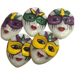 Set of Five (5) Celluloid Coat Buttons 3-D Pierrot Face French
