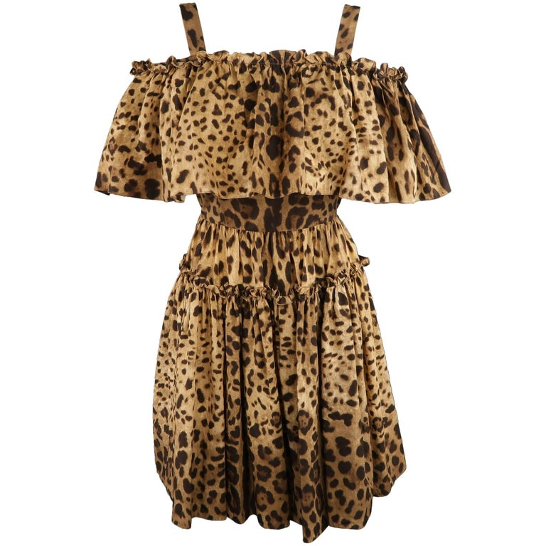 DOLCE & GABBANA Size 6 Tan Leopard Cotton Off The Shoulder Ruffle Dress