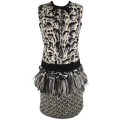 Giambattista Valli 4 Black and White Leopard Tweed Sequin Feather Cocktail Dress