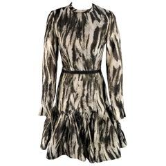 Lanvin Size 6 Gray Leopard Silk Blend Ruffle Skirt Long Sleeve Cocktail Dress