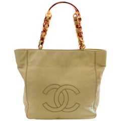 Unique Chanel Chartreuse Leather Tote Bag with Faux Tortoise Chain Handles 90s