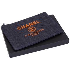 New Chanel Large Denim/Orange Clutch