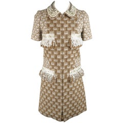 Louis Vuitton Dress 4  - Cocktail - Tan Cotton / Silk Boucle Sequin Fringe Trim
