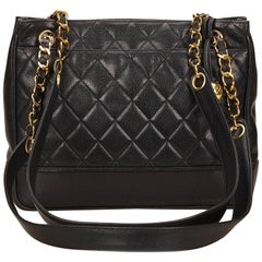 Chanel Black Quilted Caviar Leather Tote