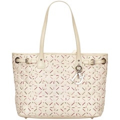 Dior White Cannage Tote Bag
